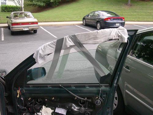 車の窓落ち