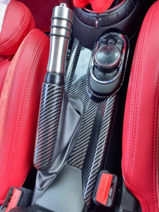 miniのカーボン調ハンドブレーキパネル